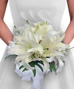 Clutch bouquet of white lilies