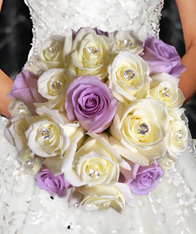 Nosegay bouquet of white & lavender roses